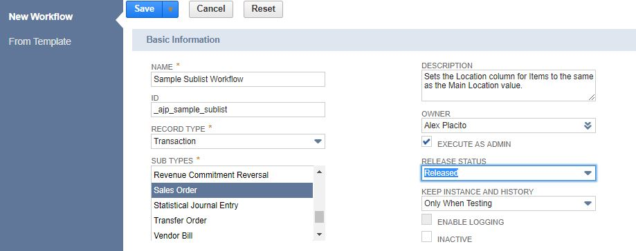 Using Workflows to Set Item Sublist Fields | RSM Technology Blog