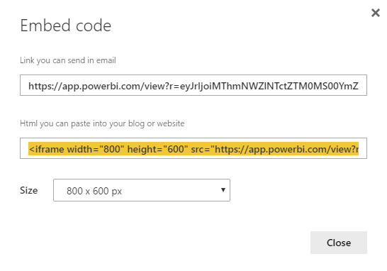 "Screenshot of Power BI ""Embed Code"" dialog"